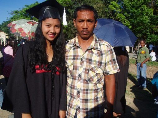 Melody and her dad at her Graduation.
