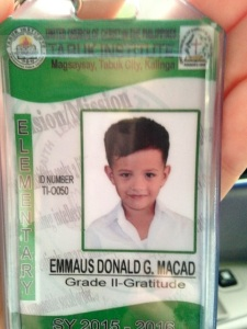 Emmaus school ID which MUST be worn every day.