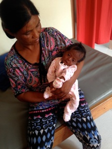 Charmee and her mother at the clinic.
